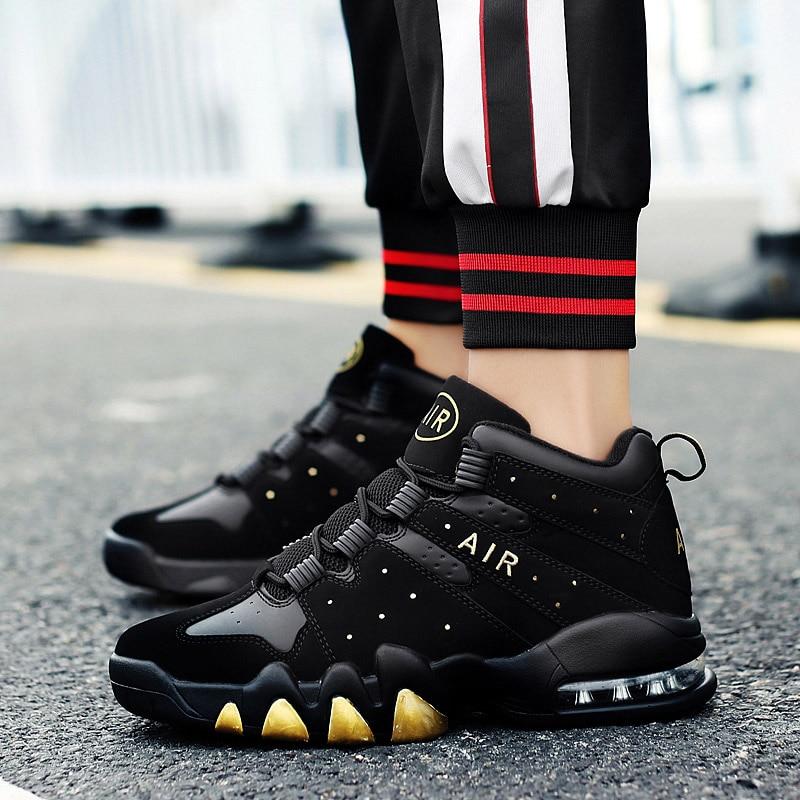 Basketball Shoes Men High-top Sports Air Cushion Jordan Basketball Athletic Mens Shoes Comfortable Breathable Retro Sneakers