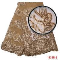 New Arrival African Tulle Lace Fabrics Gold France Net Wedding Dress Embroidred Material Mesh Nigeria Lace
