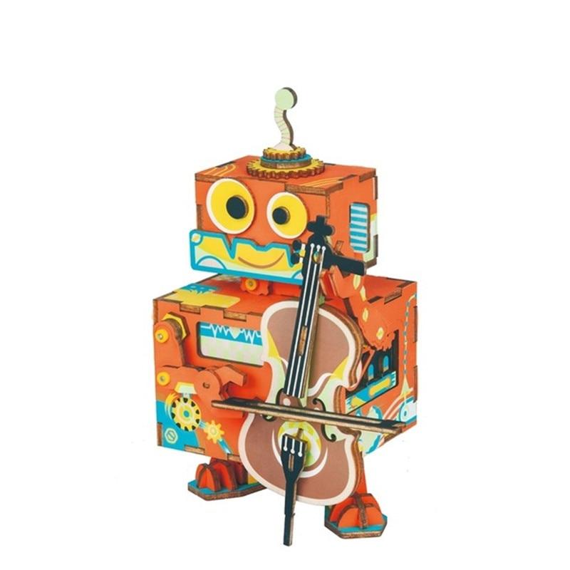 Bricolage 3D petit Robot interprète en bois Puzzle jeu assemblage mobile boîte à musique jouet Brinquedos pour enfants éducatifs enfants jouets