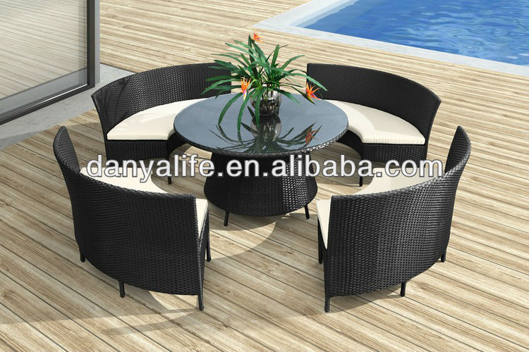 dyds d544a wicker garden patio dinning set rattan outdoor restaurant table chair cane cafe table chair 4 seats round table set