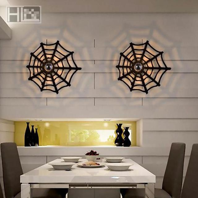 Bar Vintage led Acrylic spider wall light Arandela Restaurants Exclusive Cobweb Wall Lamps Living Room Bedroom Balcony cafe Lamp