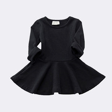 Spring Autumn Candy Color Cotton Baby Girl Dresses Long Sleeve Solid Princess Dress Toddler O-neck Casual Kids Dresses Base New цена 2017