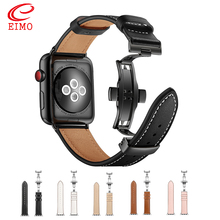Leather band For Apple watch strap apple 4 44mm 40mm iWatch 42mm 38mm Butterfly buckle bracelet correa watchband