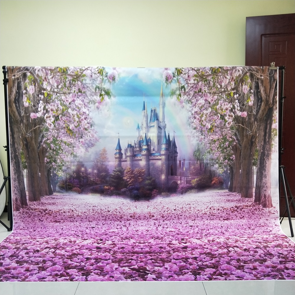 HUAYI 8x8ft Photography Backdrop Fairy Tale Castle Princess Girls Photo Booth Backdrop Studio Props with Flowers in Spring w 314