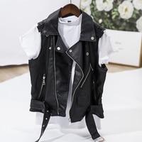 Black Color Women Faux Leather Vest Motorcycle Jacket Waistcoat Punk Style Vest Super Cool Zippers Slim Tops Novelty Ladies