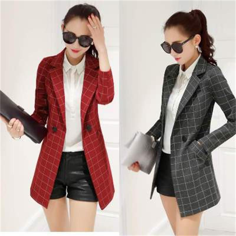 Fashion Women's OL Commuter Professional Small Suit 2018 Autumn And Winter New Temperament Wild Long Section Ladies Suit Trend