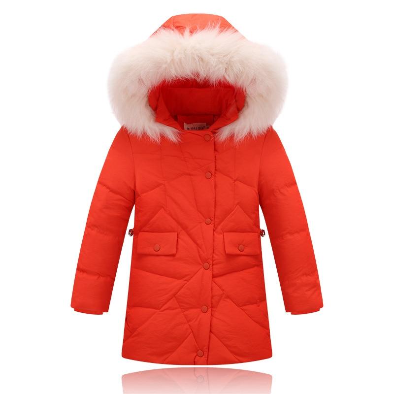 2016 yeni kış kız çocuk aşağı 80% beyaz aşağı ceketler coats büyük kız uzun Kore sıcak kapüşonlu yaka ceket ceket giyim