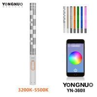 Yongnuo yn360ii yn360 ii handheld led fotografia luz suave 3200 k-5500 k rgb ajustável temperatura de cor controle app smartphone