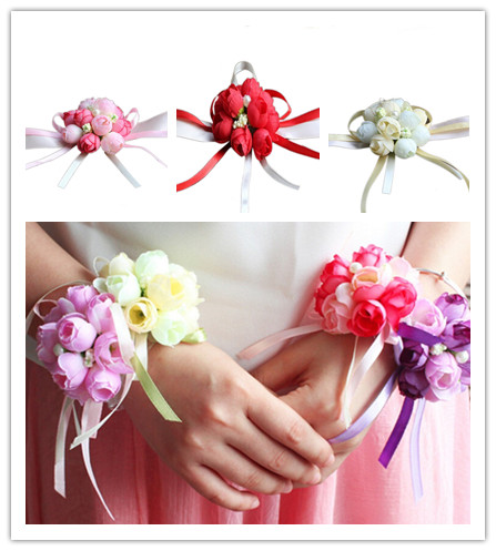 Artificial Bride Flowers 5 Colors Rose Wrist Corsage Bridesmaid Sisters hand flowers For Wedding Party Decoration Bridal Prom