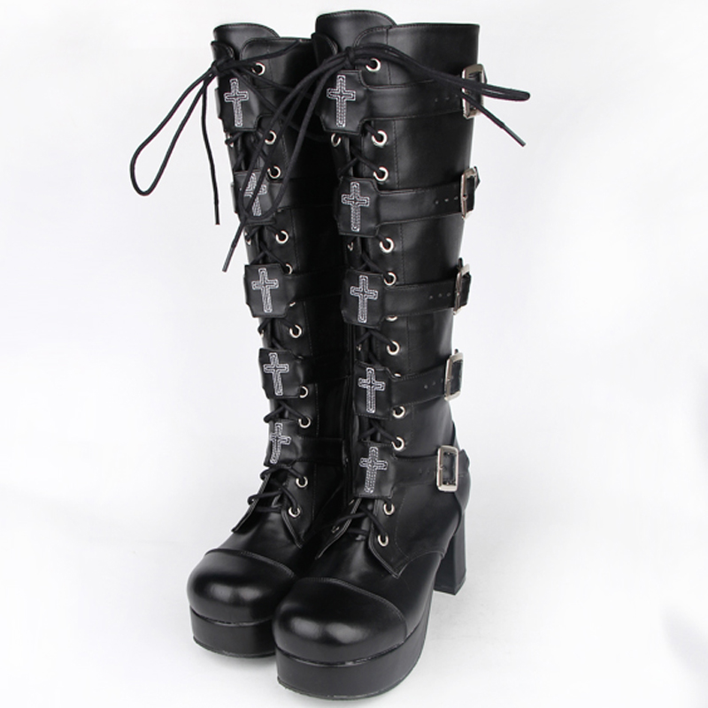 female winter Japanese anime cosplay shoes women leather Platform shoes motorcycle boots Punk thigh high boots with heels