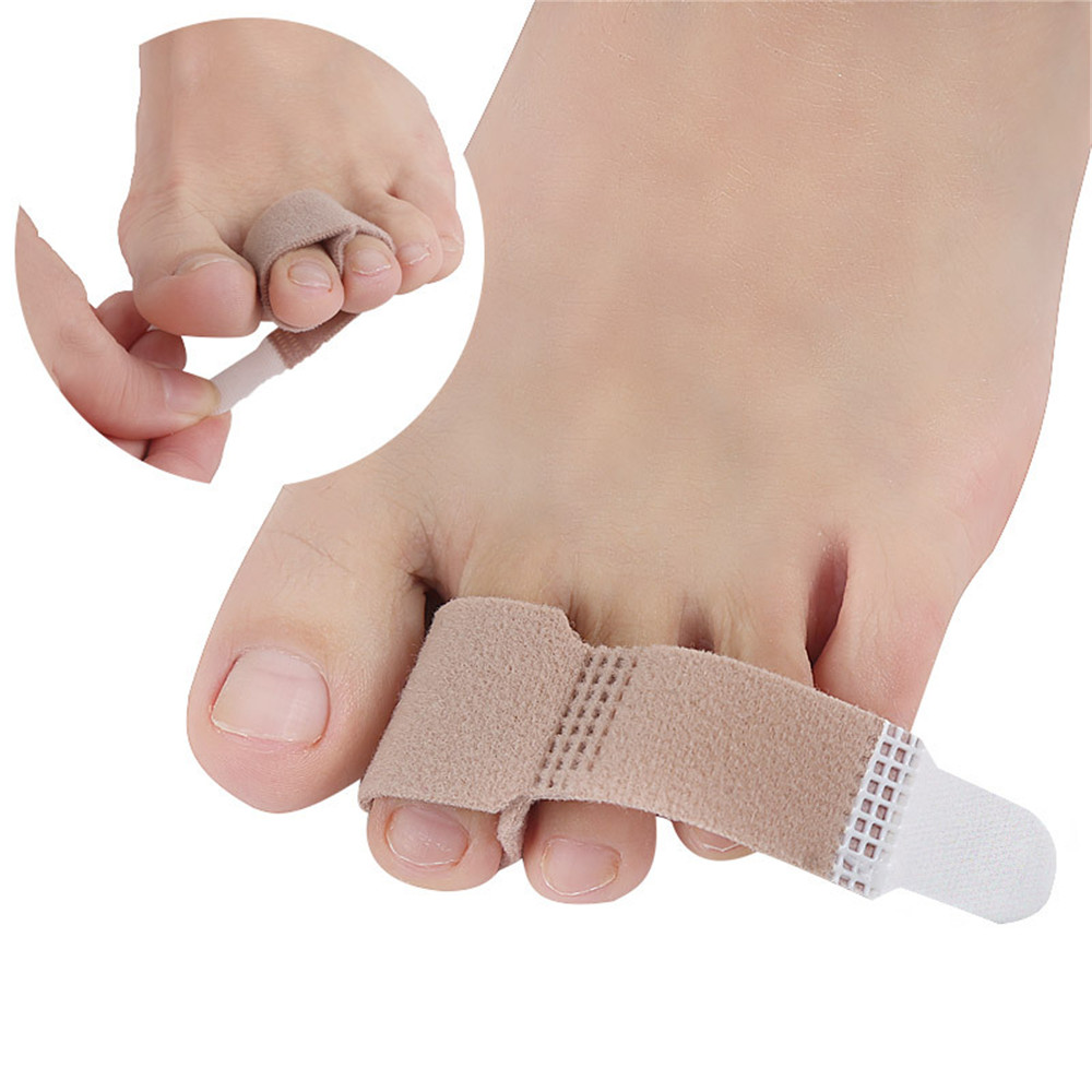 2PC Fabric Toe Finger Straightener Hammer Toe Hallux Valgus Corrector Bandage Toe Separator Splint Wrap Foot Stretcher Care Tool(China)