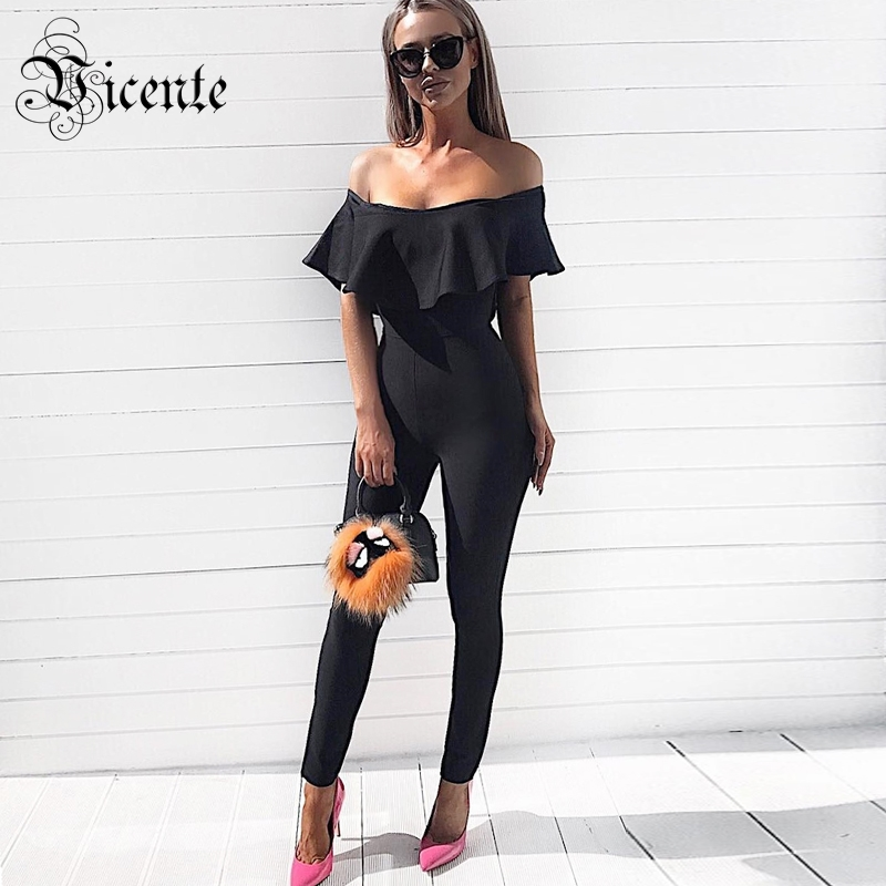 Vicente 2019 New HOT Trendy Elegant Ruffles Embellished Sexy Off The Shoulder Women Celebrity Party Bandage Jumpsuit