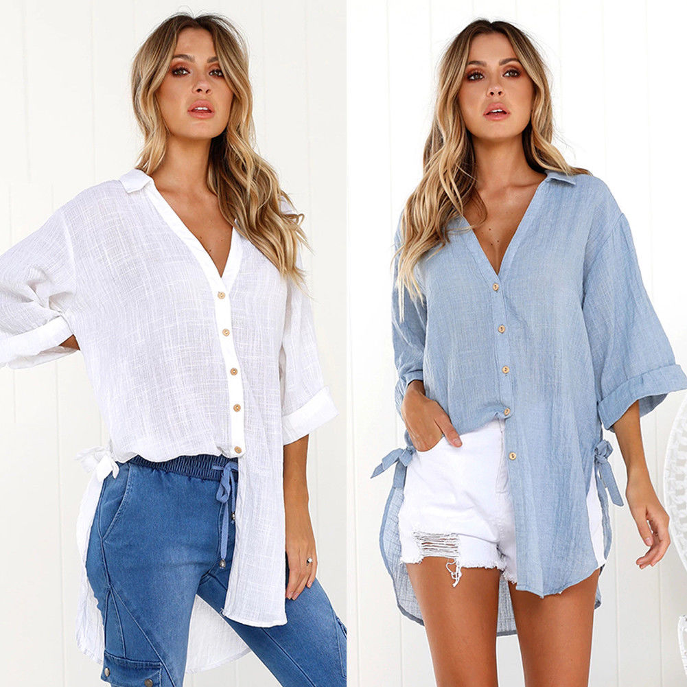 Objective Autumn New Women Long Sleeve Casual Work V-neck Shirts Ladies Holiday Beach Blouse A Wide Selection Of Colours And Designs Women's Clothing