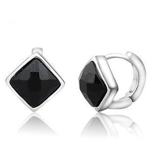 2017 hot sell fashion black crystal women 925 sterling silver ladies`stud earrings jewelry wholesale birthday gift female