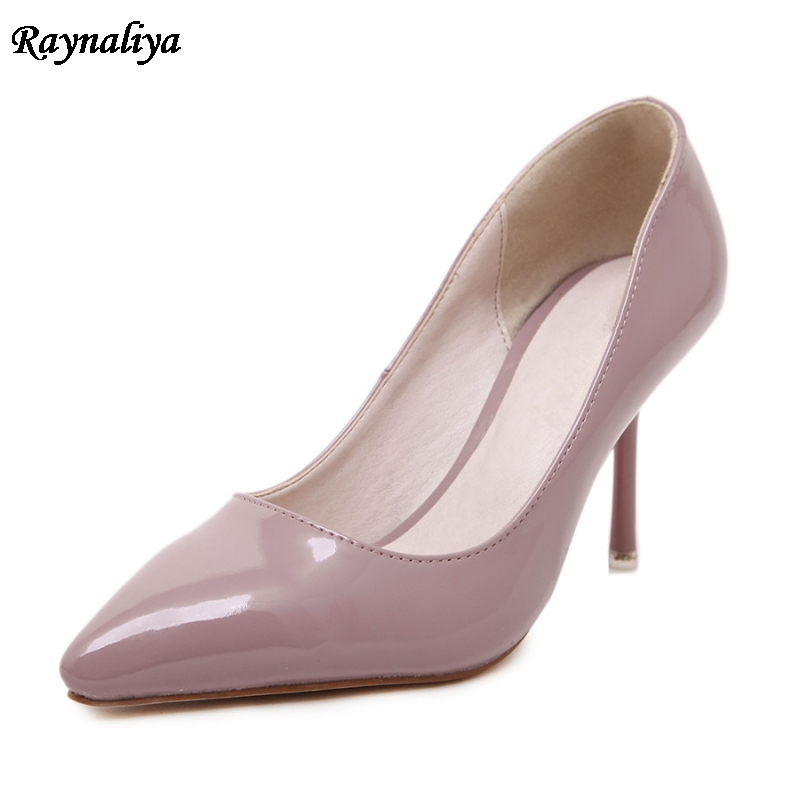 Women Pumps 8 Cm Pointed Toe Thin High Heels Shoes 2018 New Brand Wedding Office Handmade Women Shoes Big Size MS-B0020 fletite top quality elegant embroidery 8 color women pumps pointed toe thin high heels 2018 new fashion luxury women shoes brand