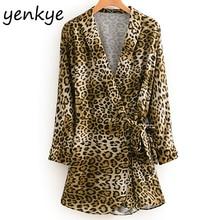 Fashion Sexy Leopard Print Jumpsuit Female Crossed V neck Long Sleeve Tie Waist Streetwear rompers womens