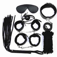 8Pcs/Set Sex Bondage Kit Slave Sexy Product Adult Games Toys Hand Cuffs Foot cuff Whip Rope Blindfold Couples Erotic Toys access