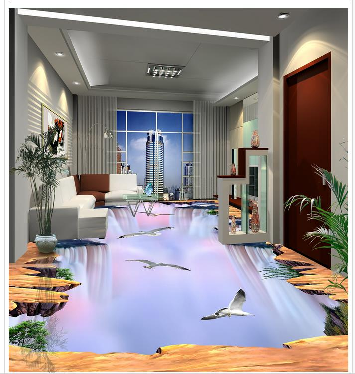 3D wallpaper floor for living room waterfall 3D wall murals wallpaper floor Custom Photo self-adhesive 3D floor  beibehang summer beach floor floor murals wall stickers 3d wallpaper for living room pvc floor self adhesive papel de parede 3d