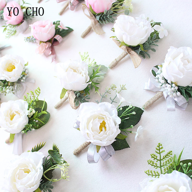 YO CHO Boutonnieres Silk Roses White Pink Wedding Corsages and Boutonnieres Groom Flower Boutonnieres <font><b>Marriage</b></font> Prom Brooch Pins image