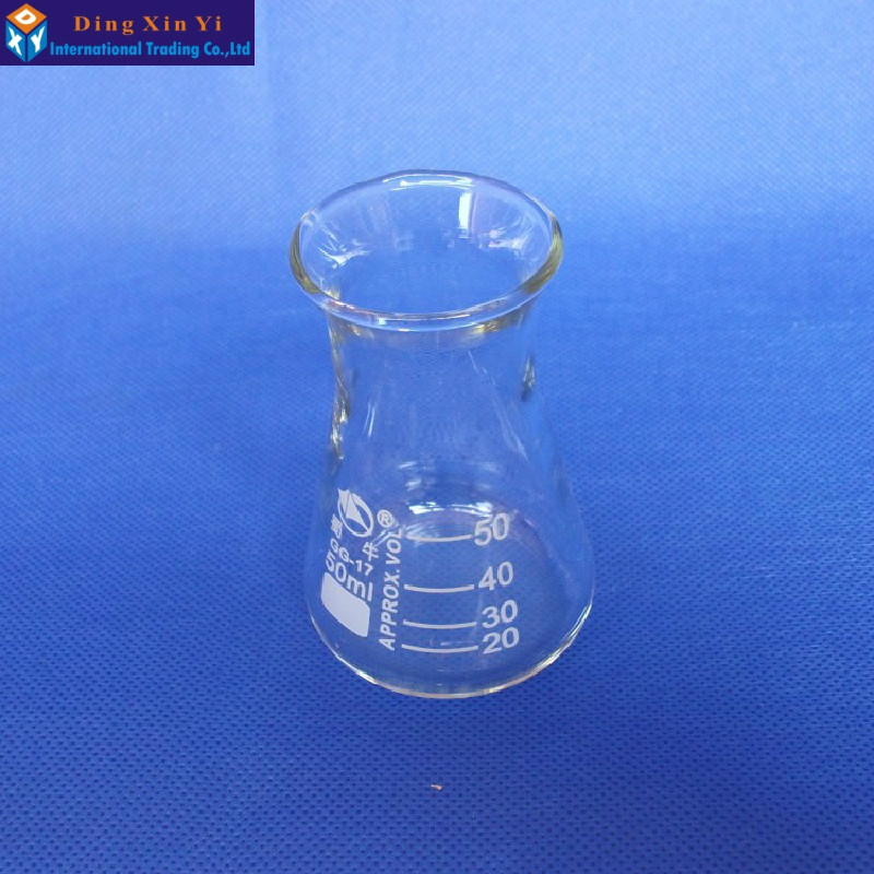 (4 pcs/lot) Glass Erlenmeyer Flask glass conical flask 50ml Laboratory use glass triangle flask borosilicate glass,GG17,Pyrex