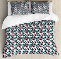 Teal Duvet Cover Set Hand Drawn Watercolor Abstract Butterflies Pattern Blue and Pink Animal Pattern 4 Piece Bedding Set