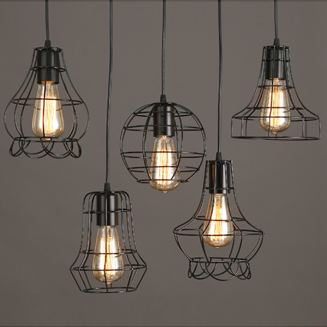 cage pendant lighting. Retro Vintage Black Iron Cage Pendant Lamp Cord Loft Oendant Lights E27 For Living/dining Lighting