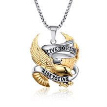 Maxi Necklace Collier Collares Fashion Eagle Necklace Pendants Live To Ride Biker Sport Men Plated Stainless Steel Hero Jewelry(China)