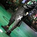 HOT 2017 nova Moda calças capris casuais outono e inverno culottes preto cantor dj trajes boate calças harém