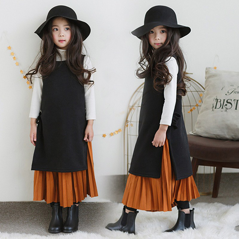 2018 Girls Spring Autumn Casual Outfit Vintage Soft Design Sweet Kids 2 pcs Sets Fairy Style Age 56789 10 11 12 13 14 Years Old 2017 autumn girls blouse ruffle hem flare sleeves blue striped letter design for teens at age 56789 10 11 12 13 14t years old