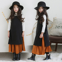 2018 Girls Spring Autumn Casual Outfit Vintage Soft Design Sweet Kids 2 pcs Sets Fairy Style Age 56789 10 11 12 13 14 Years Old