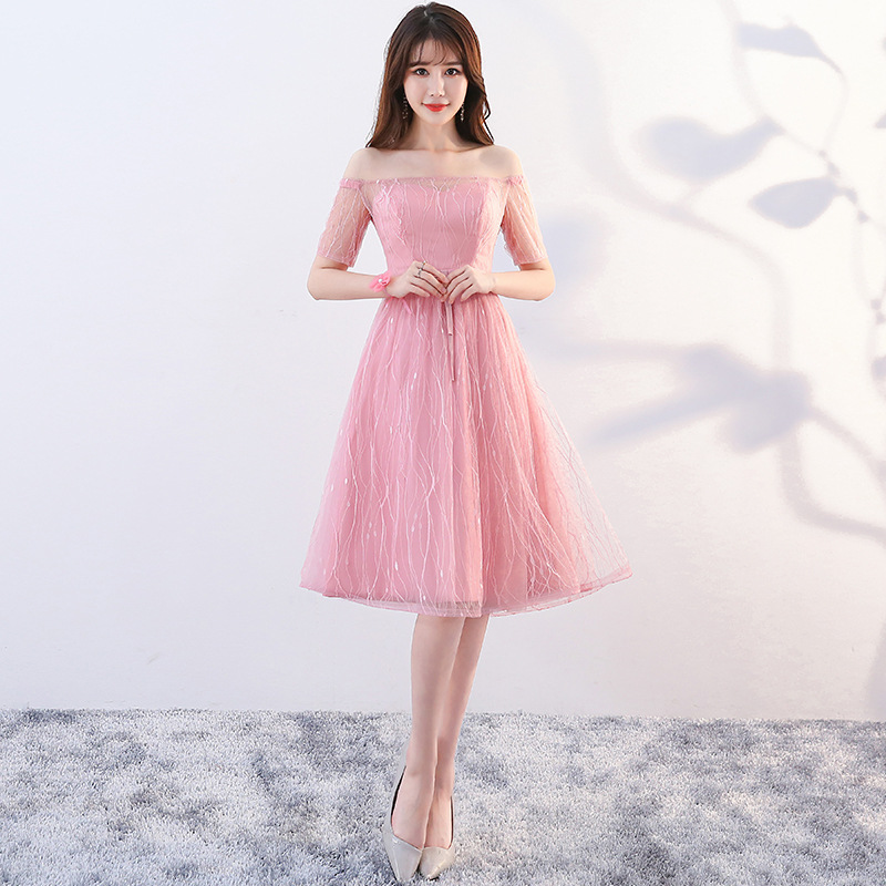 Pink Off Shouler Sexy Lady Evening Gowns Elegant Slim Asian Bridesmaid Wedding Party Dress Chiffon Girls Graduation Dresses