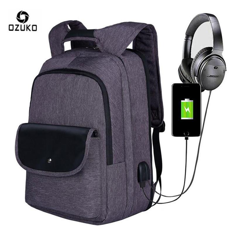 OZUKO Backpack Men Anti theft Designer Backpack USB Charge Business Computer laptop Backpack Travel Large Capacity