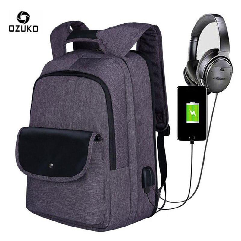 OZUKO sac à dos pour hommes sac à dos design antivol USB Charge ordinateur d'affaires sac à dos pour ordinateur portable voyage grande capacité sacs d'école