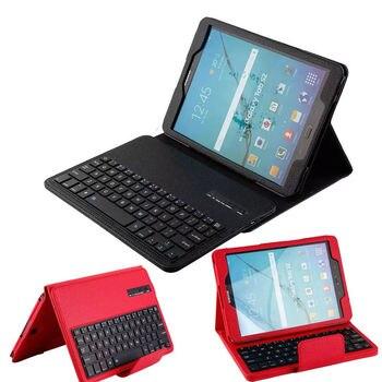 """Funda protectora de piel sintética para Samsung Galaxy Tab S2 T810 T815 SM-T813 SM-T819 de 9,7 """", teclado inalámbrico Bluetooth para Tablet"""