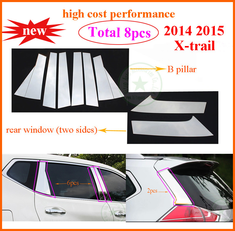 new x trail 2014 2015 window sill frame trim b pillarrear window stainless steeltotal 8pcs high cost performancelow profit