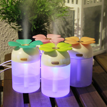 Cute Mini Clovers USB Ultasonic Air Humidifier Colorful LED Light Essential Oil Aroma Diffuser Home Office Mist Maker Purifier