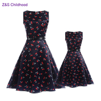 2017 Fashion Summer Mother And Daughter Dresses Vintage Teenage Dress Girls Clothing Family Matching Outfits Mae