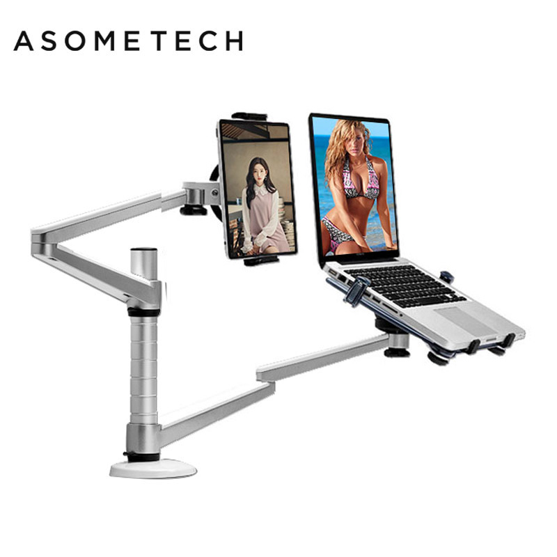 Universal Rotation Aluminum Alloy Notebook Laptop Stand Holder For 10-15 inch Laptop+9-10inch Tablet Mount Holder Stands Lapdesk