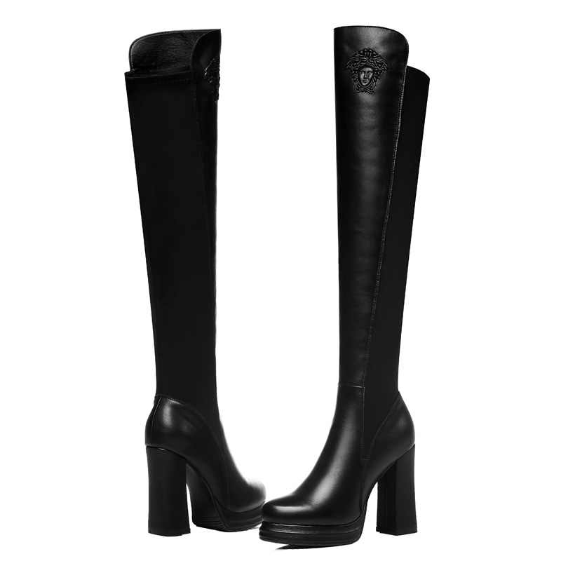 Guciheaven2018 Sobre o joelho Mulheres Botas de Inverno Quente de Pelúcia Dentro De Salto Alto Bombas 9 centímetros Patchwork PU + Estiramento Febric sapatos da moda