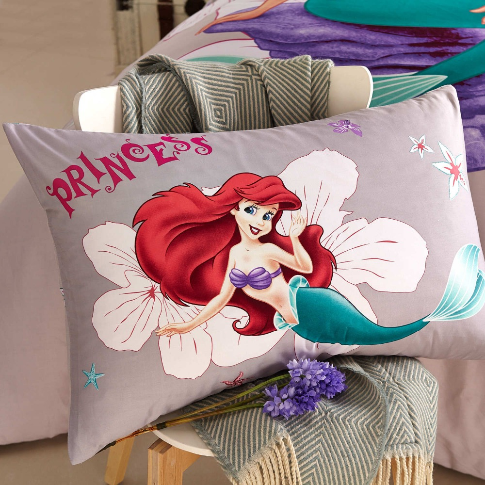 Disney Cartoon Little Mermaid Ariel Printed Grey Bedding Sets for Childrens Girls Bedroom Decor Cotton Duvet Cover Set 1.5m Bed 3