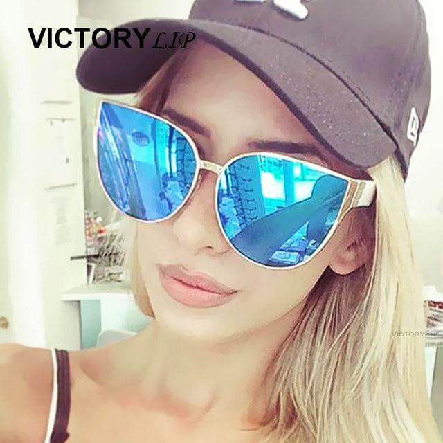 VictoryLip Surdimensionné Miroir Rose lunettes de Soleil Cat Eye Mode Femmes Hommes lunettes de Soleil Femme Shades Hippie Lunettes de Soleil En Gros