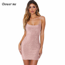 Dower me Sequined Summer dress Strapless sleeveless solid Above knee plus size White black gold pink women shining dresses Y051