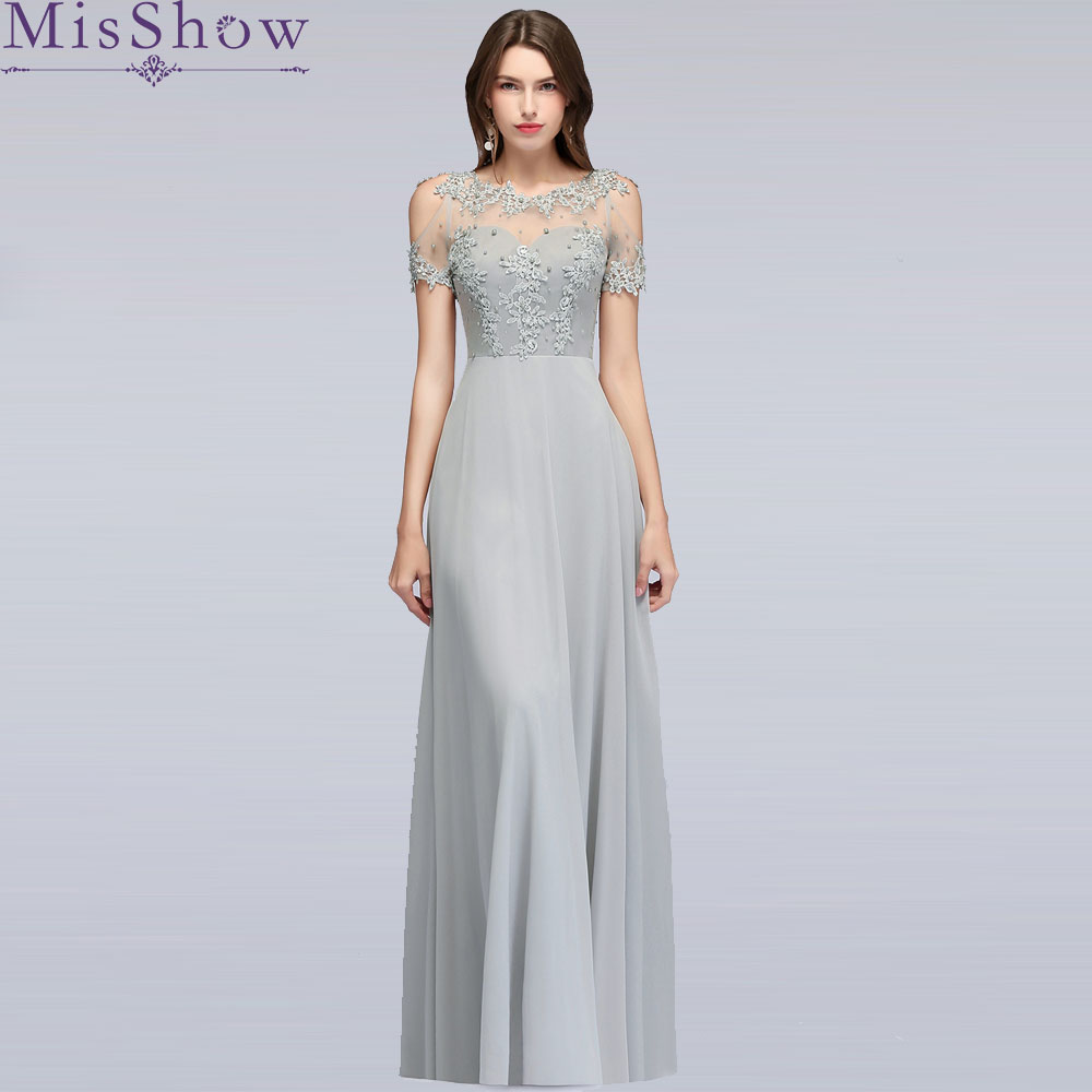 Silver Long Gown Evening Dress 2019 Brautmutterkleider Wedding Party Dresses Hollow Out Short Sleeve Mother Of the Bride Dresses(China)