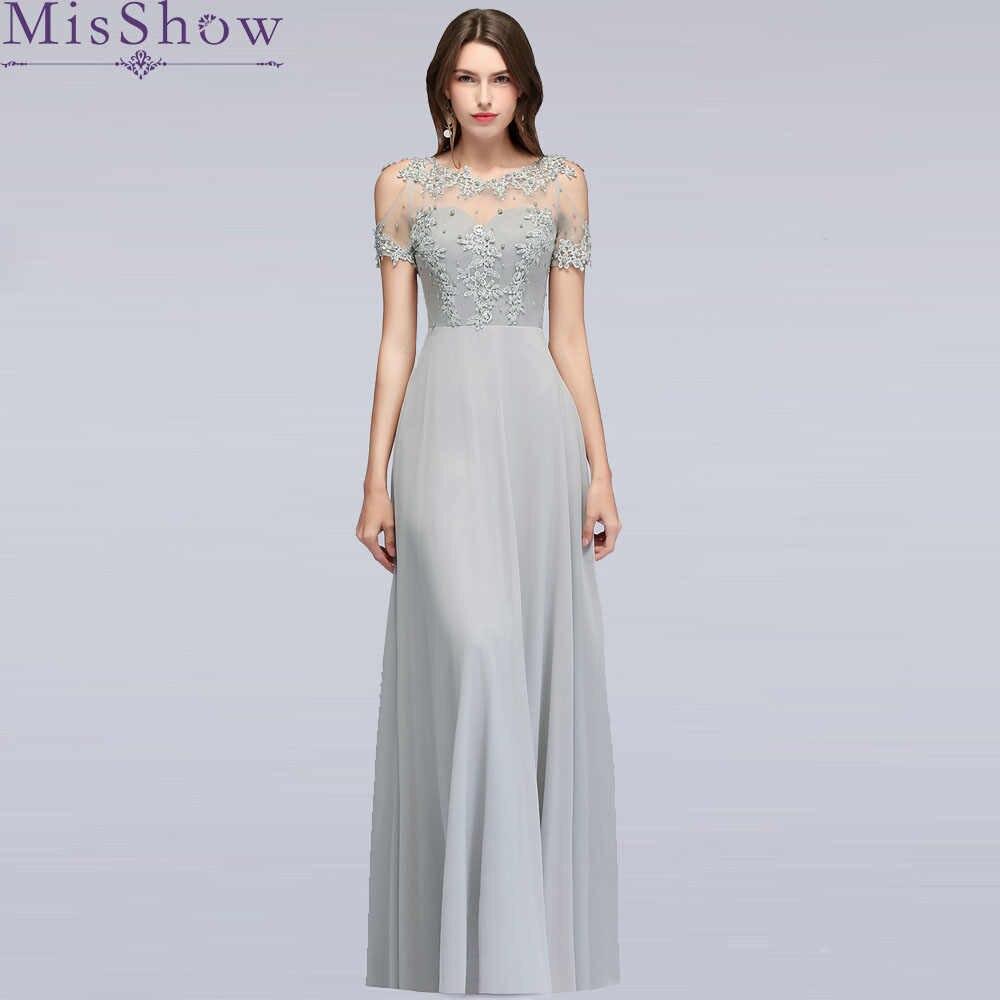 4dbe06eb34d47 Silver Long Gown Evening Dress 2019 Brautmutterkleider Wedding Party Dresses  Hollow Out Short Sleeve Mother Of