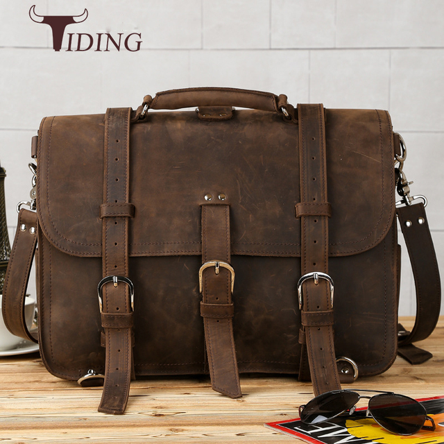 6fa82b6eb7 Tiding 100% Cow Leather Designer Travel Backpack 15 Inch Laptop Bag  Adventure Messsenger Bags Men Multi-function Bag Brown