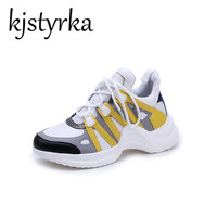 Kjstyrka New Arrived Women's Fashion Lace Up Casual Shoes Fashion Wedge Hidden High Heel Yellow Blue ARCHLIGHT Women Sneakers