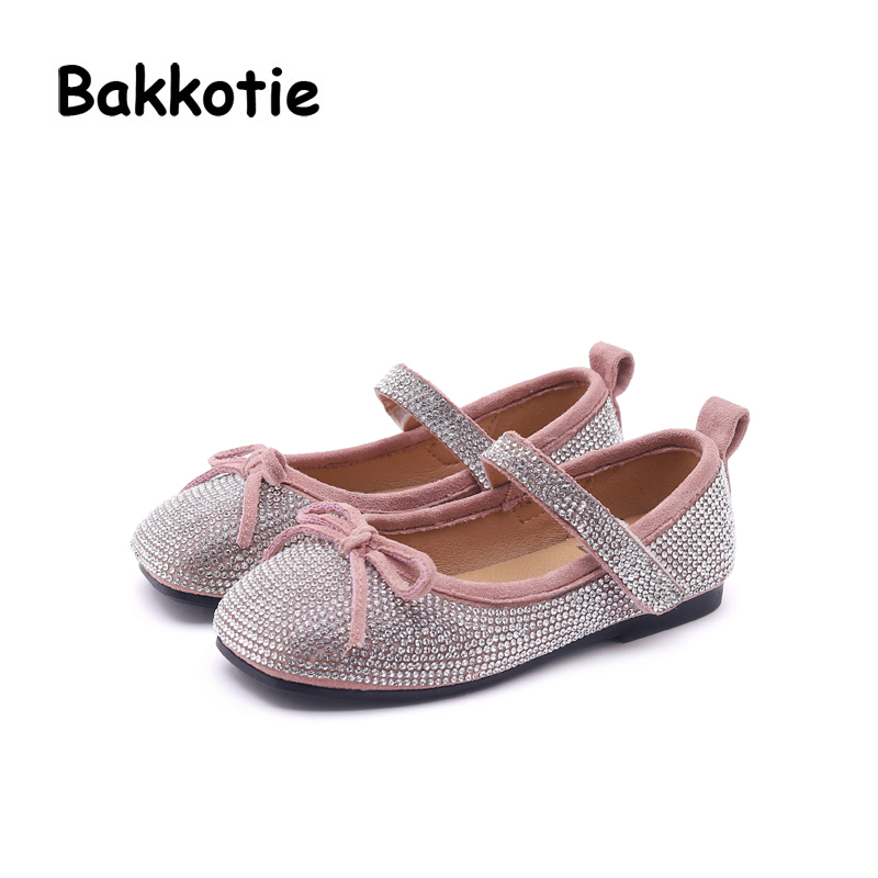 Bakkotie 2018 Spring New Fashion Baby Girl Bow Shoe Children Princess Rhinestone Flat Kid Party Brand Cute Sweet Mary Jane