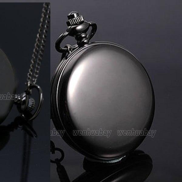 Black Quartz Pocket Watch Necklace Pendant for Women Men Unisex P200