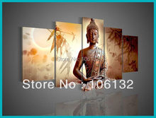 Framed 5 Panel Large High End Fengshui 5 Panel Canvas Art Wall Frame Decorative Buddha Paintings for Sale Brown Picture A0474