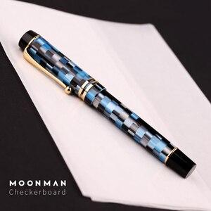 Image 4 - 새로운 moonman m600 셀룰로이드 바둑판 만년필 독일 schmidt fine nib 0.5mm 우수한 패션 사무실 쓰기 선물 펜